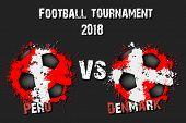 Soccer Game Peru Vs Denmark. Football Tournament Match 2018. Vector Illustration poster