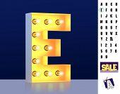 Letter E From Alphabet. Glowing Letter E. Bulb Type E. 3d Illuminated Light Bulb Symbol Letter E. Re poster