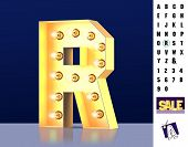 Letter R From Alphabet. Glowing Letter R. Bulb Type R. 3d Illuminated Light Bulb Symbol Letter R. Re poster