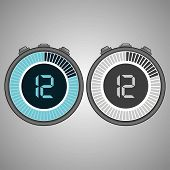 Постер, плакат: Electronic Digital Stopwatch 12 Seconds Isolated On Gray Background stopwatch Icon Set Timer Icon