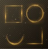 Vector Glowing Magic Square And Circle Frame. Glowing Neon Fire Wave. Glitter Sparkle Trail Effect O poster