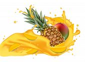 Splash Of Ananas Juice. Mango And Pineapple. 3d Realistic Vector Eps 10. Packaging Template. Brand A poster