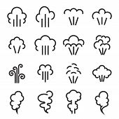 Steam Icons. Linear Symbol Of Steam Function In Domestic And Industrial Appliances Isolated On A Whi poster