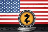 Zcash (zec) Cryptocurrency; Physical Concept Zcash Coin On The Background Of The Flag Of United Stat poster