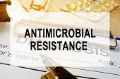 Antimicrobial Resistance Amr Concept. Desk In A Hospital. poster