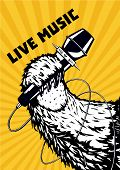 Live Music. Musical Poster Background For Hip-hop Party. Animal Paw With Microphone. Tattoo Style Ve poster
