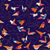 Colorful Origami Paper Swallow Birds Seamless Pattern. Multicolored Origami Birds, Origami Silhouett poster