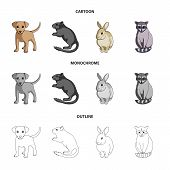 Puppy, Rodent, Rabbit And Other Animal Species.animals Set Collection Icons In Cartoon, Outline, Mon poster