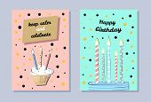 Happy Birthday Banner, Keep Calm And Celebrate, Cute Cupcake With Flaming Candles, Blue Baking, Birt poster