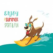Summer Fun Sport Concept. Dog On Surf Board. Colorful Comic Cartoon. Domestic Pet Adventure Activity poster
