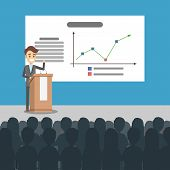 Business Presentation Illustration. Man Presenting With Board. poster