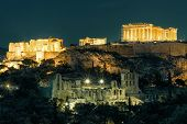 Night View Of The Acropolis, Athens, Greece. Ancient Greek Structures On Acropolis Are The Main Land poster
