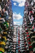 Old Apartment In Hong Kong, Crowded City Apartment From Bottom View. poster