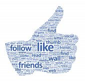picture of follow-up  - Illustration of the thumbs up symbol which is composed of words on social media themes - JPG