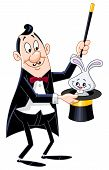 picture of warlock  - Vector illustration of a magician pull a rabbit from a hat - JPG