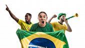 Brazilian fan friends celebrating poster