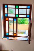 Retro Glass Stained Glass Color Glass Simple Geometry poster