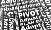 Pivot Change Turn Adjust Alter Course Words 3d Illustraion poster