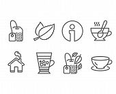 Set Of Frappe, Tea Cup And Tea Bag Icons. Mint Bag, Mint Leaves And Espresso Signs. Cold Drink, Coff poster