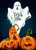 Halloween Trick Or Treat October Holiday Greeting Card Design Of Scary Pumpkin Lantern Monster And S poster