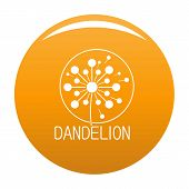 Faded Dandelion Logo Icon. Simple Illustration Of Faded Dandelion Vector Icon For Any Design Orange poster