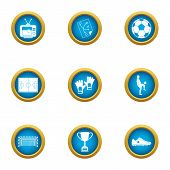 College Football Icons Set. Flat Set Of 9 College Football Vector Icons For Web Isolated On White Ba poster