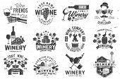 Set Of Wine Company Badge, Sign Or Label. Vector Illustration. Vintage Design For Winery Company, Ba poster