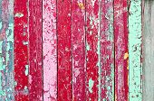 Texture Background With Weathered Painted Multicolor Wooden Planks And Peeling Paint On Them. Closeu poster
