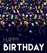 Happy Birthday Greeting Card Illustration, Retro Confetti In Vintage Style Trend. Colorful Party Bac poster