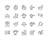 Simple Set Of Cooking Related Vector Line Icons. Contains Such Icons As Frying Pan, Boiling, Flavori poster