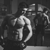 Man With Nude Torso In Gym Enjoy His Sporty Lifestyle. Sport And Gym Concept. Sportsman, Athlete Wit poster