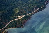 Howe Sound, North Of Vancouver, British Columbia, Canada. Aerial View From Above Of A Scenic Highway poster