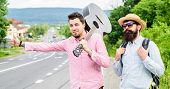 Men Try Stop Car Thumb Up. Travel By Autostop. Hitchhiking Cheapest Ways Traveling. Hitchhiker Meet  poster