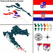 Vector Map Of Dubrovnik Neretva And Location On Croatian Map poster