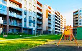 Apartment Residential House Facade Architecture With Children Playgrounds Reflex poster