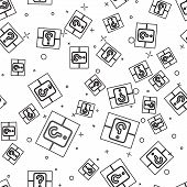 Black Line Mystery Box Or Random Loot Box For Games Icon Isolated Seamless Pattern On White Backgrou poster