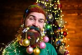 Christmas Beard Decorations. Christmas Decorations. Smiling Santa Man With Decorated Beard. Decorate poster