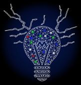 Glowing White Mesh Electric Sparks Bulb With Sparkle Effect. Abstract Illuminated Model Of Electric  poster