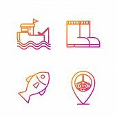Set Line Location Fishing, Fish, Fishing Boat With Fishing Rod On Water And Fishing Boots. Gradient  poster