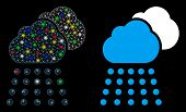 Glossy Mesh Rain Clouds Icon With Glare Effect. Abstract Illuminated Model Of Rain Clouds. Shiny Wir poster