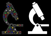 Glowing Mesh Microscope Icon With Glitter Effect. Abstract Illuminated Model Of Microscope. Shiny Wi poster