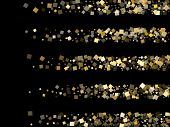 Geometric Gold Square Confetti Sparkles Scatter On Black. Glittering New Year Vector Sequins Backgro poster
