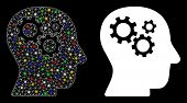Glossy Mesh Intellect Gears Icon With Sparkle Effect. Abstract Illuminated Model Of Intellect Gears. poster