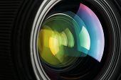 A Camera Lens With A Beautiful Close-up Optical Unit As A Substrate. poster
