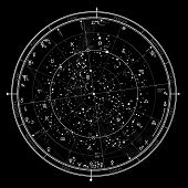 Astrological Celestial Map Of The Northern Hemisphere. The General Global Universal Horoscope On Jan poster