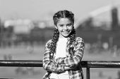 Girl Cute Kid With Braids Relaxing Urban Background Defocused. Organize Activities For Teenagers. Va poster