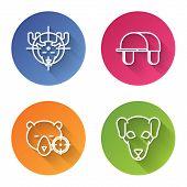 Set Line Hunt On Moose With Crosshairs, Hunter Hat, Hunt On Bear With Crosshairs And Hunting Dog. Co poster
