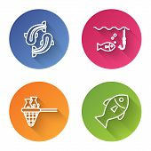 Set Line Fish, Fishing Hook Under Water With Fish, Fishing Net With Fish And Fish. Color Circle Butt poster