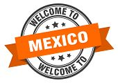 Mexico Stamp. Welcome To Mexico Orange Sign poster