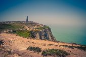 Portugal, Cabo Da Roca, The Western Cape Roca Of Europe, A Group Of Tourists  On The Cape Roca, Land poster